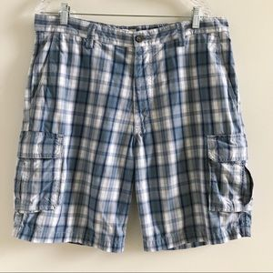 Dockers Mens Flat Front Blue Plaid Cargo Shorts 36